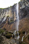 image of waterfalls  - Skaklya is the highest waterfall on Balkan Peninsula - 141 meters. Skaklya is intermittent flowing waterfall - only during snow melt in spring and rains. Located nearly the town of Vratsa Bulgaria. ** Note: Soft Focus at 100%, best at smaller sizes - JPG