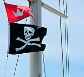 picture of pirate flag  - Pirate flag on sailing ship Florida - JPG