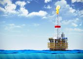 picture of section  - 3d illustration of sea oil rig drilling platform on cross section of water surface on backround of cloudy sky - JPG