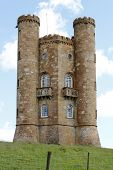 stock photo of broadway  - Broadway Tower in the Worcestershire part of the Cotswolds Hills - JPG