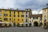 pic of piazza  - Former a Roman anphitheater now Piazza Anfiteatro is one of the most famous place in Lucca Italy - JPG