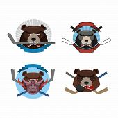 image of animal teeth  - Hockey logo bear set - JPG