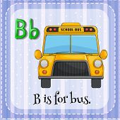 pic of letter b  - Letter B flashcard with picture of a school bus - JPG