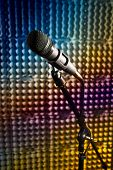 pic of stand up  - Modern microphone on a stand recording studio microphone DSLR picture sound wall microphone stand mesh wire close - JPG
