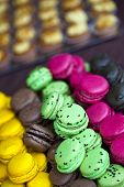 picture of stall  - Various macaroons on the stall of a French bakery  - JPG