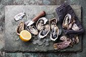 stock photo of pearl-oyster  - Oysters on stone plate with ice and lemon - JPG