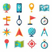 image of geography  - Cartography and geography tools accessories and symbol flat icon set isolated vector illustration - JPG