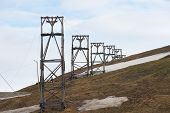 foto of mines  - View to the abandoned arctic coal mine equipment in Longyearbyen - JPG