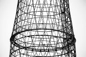 stock photo of fragmentation  - Fragment of the Shukhov radio tower also known as the Shabolovka tower is a broadcasting tower in Moscow designed by Vladimir Shukhov in the period 1922 - JPG