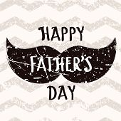 image of mustache  - Happy Fathers day vector greeting card - JPG