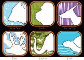 image of gorilla  - Symbol Bear Gorilla Barking Deer Elephant Turtle sign brochure pattern design Animal World Wide Life - JPG