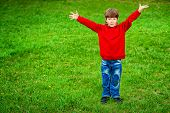 stock photo of 7-year-old  - Happy 7 years old boy having fun outdoor - JPG