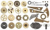 Clockwork spare parts. Set gear, cogwheels, isolated poster
