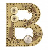stock photo of steampunk  - Steampunk mechanical metal alphabet letter B - JPG