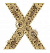 stock photo of letter x  - Steampunk mechanical metal alphabet letter X - JPG