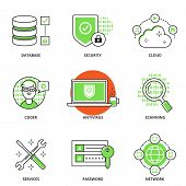 stock photo of security  - Computer network and security vector icons set - JPG