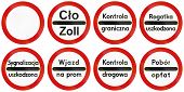 pic of traffic sign  - Collection of Polish traffic signs including no thoroughfare and various stop signs for toll collection police control etc - JPG
