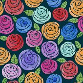 stock photo of rose  - Seamless pattern with watercolor cute roses - JPG