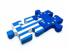 picture of union  - Puzzle pieces connect a piece containing the Greece flag and the European Union flag - JPG