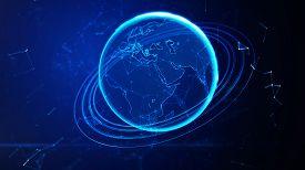 image of globe  - 3d illustration of detailed virtual planet Earth - JPG