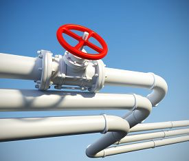 pic of pipeline  - 3d rendered illustration of industrial pipeline with gas or oil on a background of blue sky - JPG