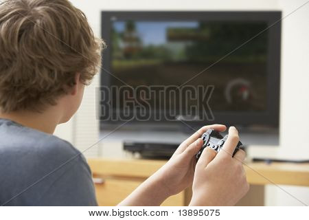 poster of Teenage Boy Playing With Game Console