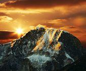 image of mountain sunset  - Beautiful sunset in Cordilleras mountain - JPG