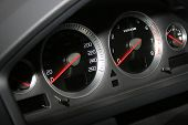 stock photo of speeding car  - Speedometer and tachometer by the modern machine - JPG