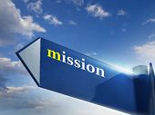 picture of marketing strategy  - Mission road sign for business and marketing concepts - JPG