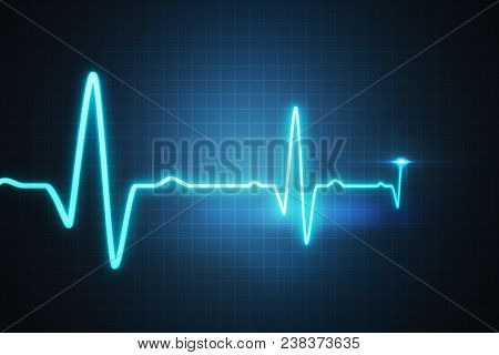 poster of Ekg - Cardiogram For Monitoring Heart Beat. 3d Rendered Illustration.