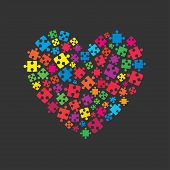 Many Colorful Piece Puzzle Heart. Icon Vector Puzzle Illustration Isolated On White Background. Jigs poster