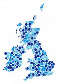 Great Britain And Ireland Map Mosaic Of Round Spots In Different Sizes And Blue Color Tones. Scatter poster