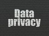 Privacy Concept: Painted White Text Data Privacy On Black Brick Wall Background poster