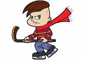 Illustration Naughty Cartoon Boy With A Hockey Stick poster