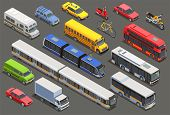 Public City Transport Isometric Icons Collection With Isolated Images Of Private Cars Bikes And Muni poster