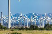 Dramatic Wind Turbine Farm in the Desert of California. poster