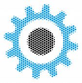 Halftone Hexagonal Cogwheel Icon. Pictogram On A White Background. Vector Pattern Of Cogwheel Icon C poster