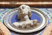 image of christopher columbus  - Bust of Christopher Columbus in Plaza de Espana Sevilla Spain - JPG