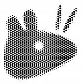 Halftone Hexagonal Mouse Head Icon. Pictogram On A White Background. Vector Pattern Of Mouse Head Ic poster