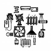 Heat Cool Air Flow Tools Icons Set. Simple Illustration Of 16 Heat Cool Air Flow Tools Vector Icons  poster