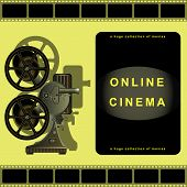 Online Cinema, Film Projector, Film, Movie Library.  Page Design For Sites, Online Movies. Vector Il poster