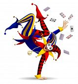 Dancing Joker with playing cards on white. Three dimensional stylized drawing poster
