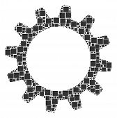 Cogwheel Composition Icon Of Square Figures And Round Items In Various Sizes. Vector Items Are Combi poster
