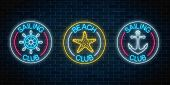 Set Of Three Glowing Neon Signs Of Sailing Club And Beach Club. Summer Leisure Club Emblem With Stee poster