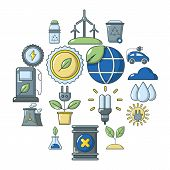Ecology Icons Set. Cartoon Illustration Of 16 Ecology Vector Icons For Web poster