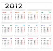Colored 2012 Calender
