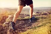 Outdoor cross-country running in summer sunshine concept for exercising, fitness and healthy lifesty poster
