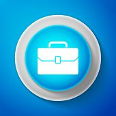 White Briefcase Icon Isolated On Blue Background. Business Case Sign. Circle Blue Button With White  poster