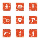 Hardware Store Icons Set. Grunge Set Of 9 Hardware Store Vector Icons For Web Isolated On White Back poster