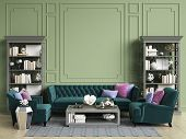 Classic Interior In Green Colors With Copy Space.sofa And Chairs In Blue And Pink Colors,sidetables  poster